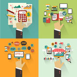 Flat design. Set of business concept with hands. Royalty Free Stock Photo
