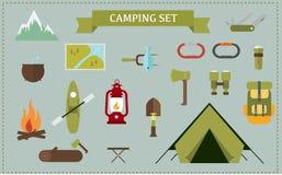 Flat design Set camping Stock Photos