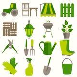 Flat design set of gardening tool icons Stock Images