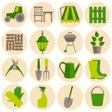 Flat design set of gardening tool icons Stock Image