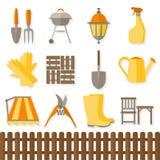 Flat design set of gardening tool icons Stock Photography