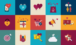 Flat design set for icons for Valentines day Royalty Free Stock Photography