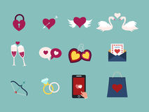 Flat design set for icons for Valentines day Royalty Free Stock Image