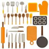 Flat design set of kitchenware isolated on white Royalty Free Stock Images