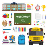 flat design with set of stationary elements, school   Stock Photo