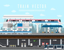 Flat design set of Train, Sky Train, Subway Vector. royalty free illustration