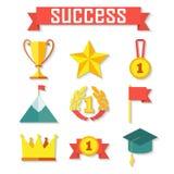Flat design of set vector award success Royalty Free Stock Image
