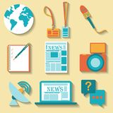 Flat design set of vector journalism icons Royalty Free Stock Photos