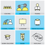 Flat design set of vector line icons of coaching mentoring train. Ing tuition tutorial classroom online & global education school college degree certificate Royalty Free Stock Image