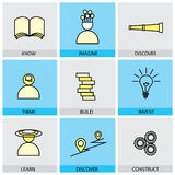 Flat design set of vector line icons of know imagine discover th. Ink thought build vector illustration