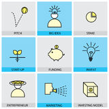 Flat design set of vector line icons of pitch big idea invent en royalty free illustration