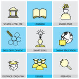 Flat design set of vector line icons of school & college, univer Stock Photography