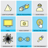 Flat design set of vector line icons of virtual reality live Stock Photography