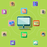 Flat design set with web, computer, mobile icons Stock Photo