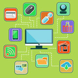 Flat design set with web, computer, mobile icons Royalty Free Stock Image