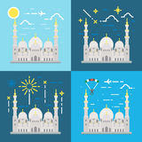 Flat design of Sheikh Zayed grand mosque Abu Dhabi Stock Images