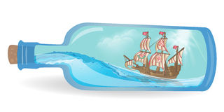 Flat design ship in a bottle. Illustration vector vector illustration