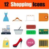 Flat design shopping icon set Stock Photo