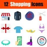 Flat design shopping icon set Stock Image