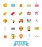 Flat Design Shopping and Retail Icon Set Royalty Free Stock Photo