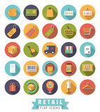 Flat Design Shopping and Retail Round Icon Set Royalty Free Stock Images