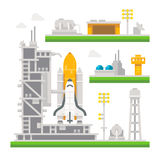 Flat design shuttle launch station. Illustration vector Stock Images