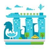 Flat design Singapore landmarks. Illustration vector illustration