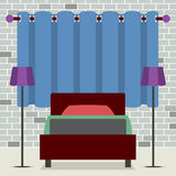 Flat Design Single Bed With Lamps Stock Photography