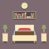 Flat Design Single Bed With Lamps Royalty Free Stock Photography