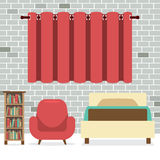 Flat Design Single Bed With Sofa And Bookcase Royalty Free Stock Photos