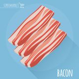 Flat design sliced bacon with long shadow.