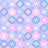 Flat design snowflakes and circles winter seamless pattern. Royalty Free Stock Photo