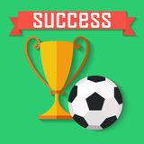 Flat design of soccer ball  and gold winner cup Royalty Free Stock Photo