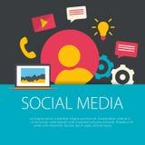 Flat design social media concept. Royalty Free Stock Photos
