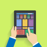 Flat design social media on a digital tablet Royalty Free Stock Photo