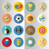 Flat design of sport half cut icons. Set Stock Image
