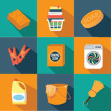 Flat design spring cleaning icons Stock Photography