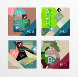 Flat design square shape infographic banner. With sample option text Royalty Free Stock Images