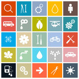 Flat Design Square Vector Icons Set Royalty Free Stock Images