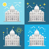 Flat design of St. Peter's Basilica Rome Italy. Illustration vector Stock Image