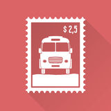 Flat design stamp with bus Royalty Free Stock Photo