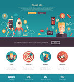 Flat design start up website header banner with webdesign elements royalty free illustration