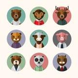 Flat design style animal avatar icon set stock illustration
