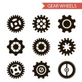Flat Design Style Black Gear Wheels Icons Set Stock Image