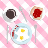 Flat design style breakfast concept background  Royalty Free Stock Photos