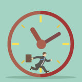 Flat design style businessman hurry within. Specified time limits concept illustration Stock Photography