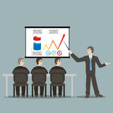Flat design style cartoon meeting businessman. Pointing presentation infogarhics board concept illustration Royalty Free Stock Photos