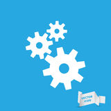 Flat design style gears icon. Blue flat design style gears icon Stock Images