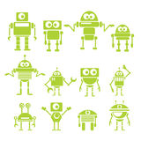 Flat design style green robots and cyborgs. Royalty Free Stock Photo