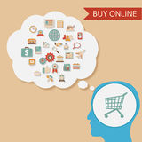 Flat design style head thought idea Internet Royalty Free Stock Photo